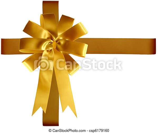 Golden Ribbon and Bow - csp6179160