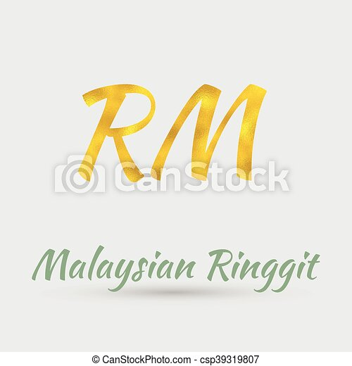 Golden Ringgit Symbol Symbol Of The Malaysian Ringgit Currency With