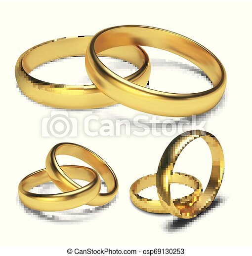 Golden rings isolated on white background Vector Illustration - csp69130253