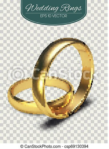 Golden rings isolated on white background Vector Illustration - csp69130394
