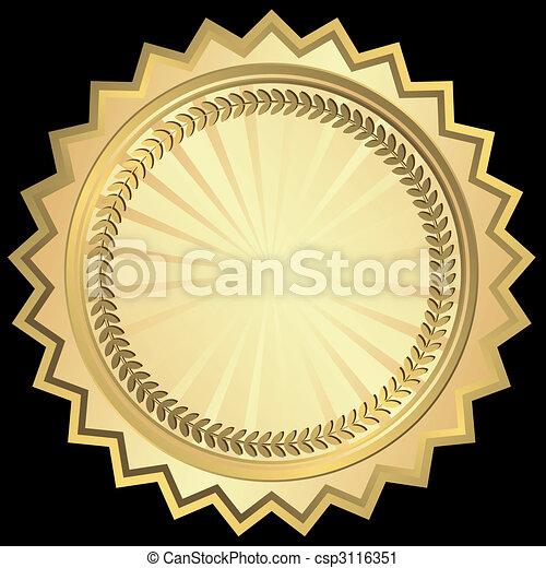 Golden round frame (vector) - csp3116351