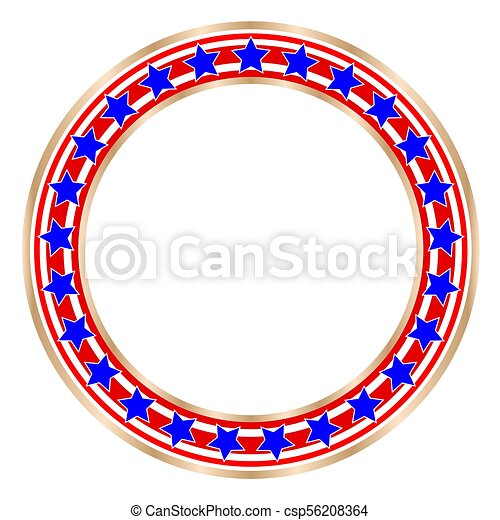 Golden Round Frame With American Symbols With Blank Space For Text