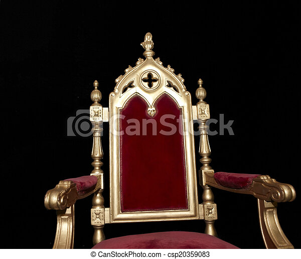 Exceptional Golden Royal Chair Isolated On Black   Csp20359083