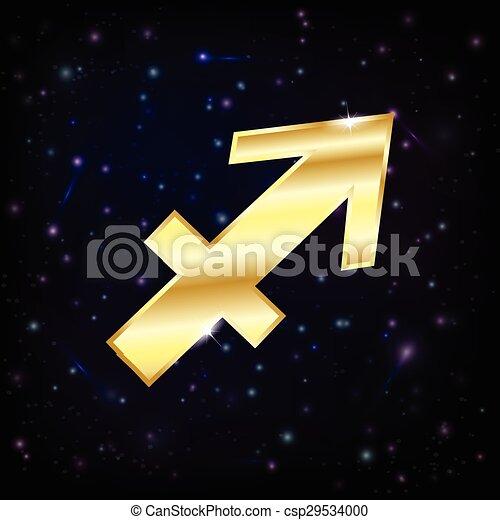 Golden Sagittarius Zodiac Sign On A Sky Background With Stars