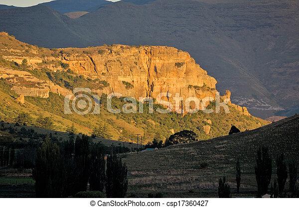Golden sandstone cliffs - csp17360427