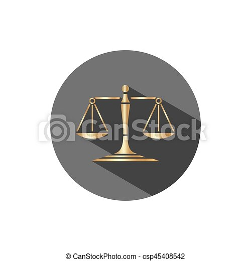 Golden scales of justice icon with shadow on a dark circle - csp45408542