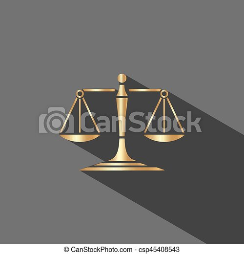 Golden scales of justice icon with shadow on dark background - csp45408543