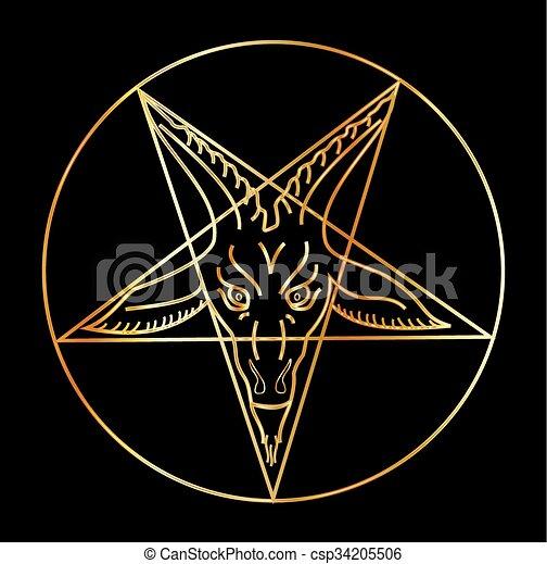 Golden sigil of Baphomet- Satanism  - csp34205506