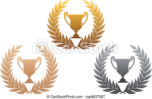 Golden, silver and bronze laurel wreaths with trophy - csp9637087