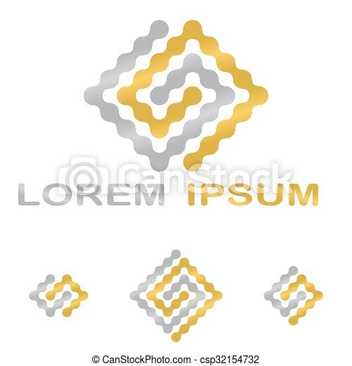 Golden Silver Science Technology Company Symbol Set Golden Silver