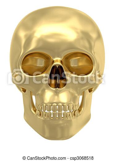 Golden skull isolated on white - csp3068518
