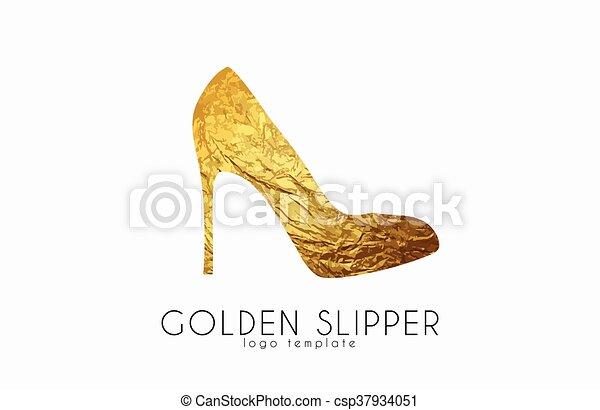 Golden slipper. Princess slipper. Elegant slipper logo design. Fashion logo - csp37934051