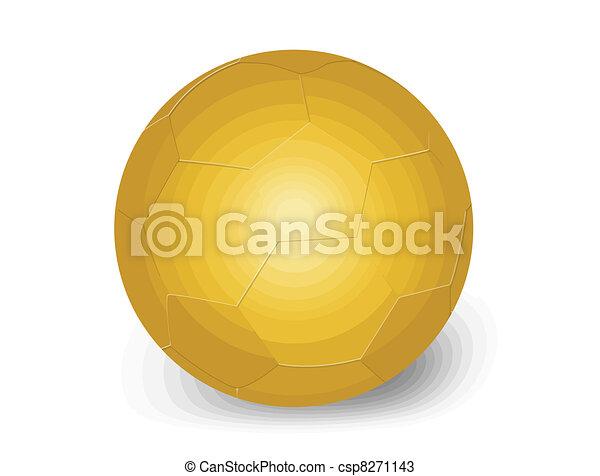 3660b8f2d Golden soccer ball on white background, vector illustration.