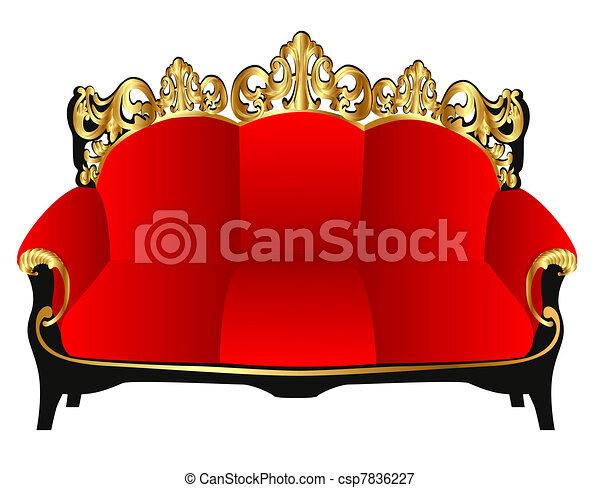 gold(en), sofa, retro, rouges, modèle - csp7836227