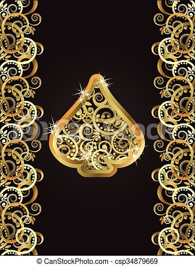 gold spade card  Golden spade poker card