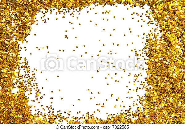 Golden sparkle glittering frame .