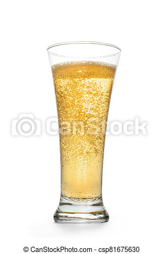 Golden sparkling drink into high glass - csp81675630