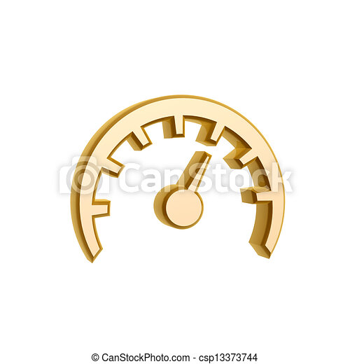 Golden speed meter symbol isolated on white background.