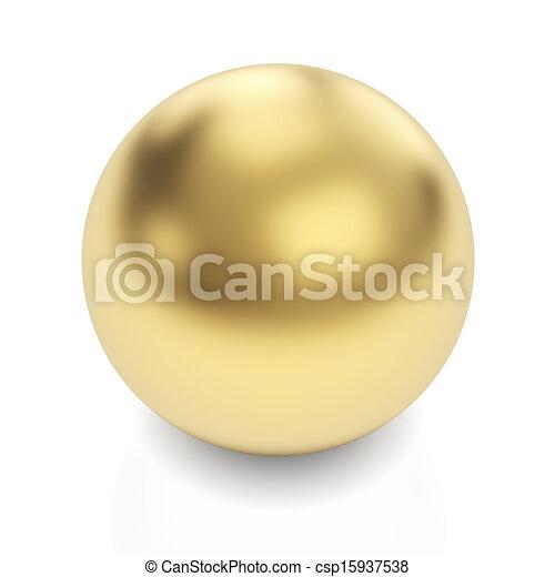Golden sphere on white - csp15937538