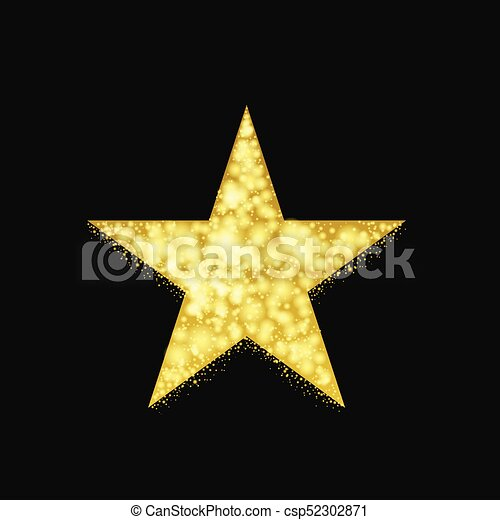 Magic Golden Star Symbol With Sparkles And Glitters Vectors