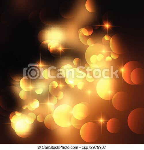 Golden stars and bokeh lights background - csp72979907