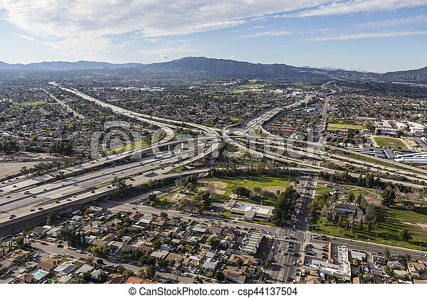 Golden State 5 and 118 Freeway Interchange aerial in Los Angeles - csp44137504