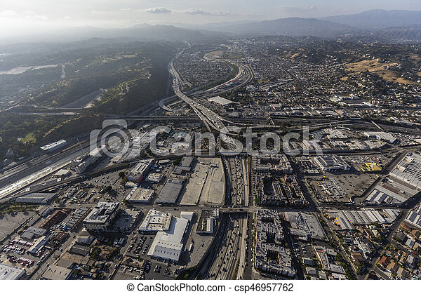 Golden State 5 Freeway Los Angeles Aerial - csp46957762