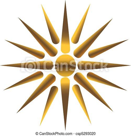 Golden Sun Fully Vectorized Maya Inca Symbol