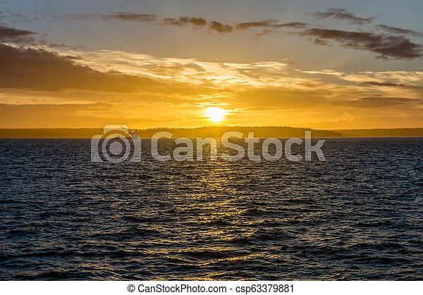 Golden Sunset And Crane Vessel 3 - csp63379881