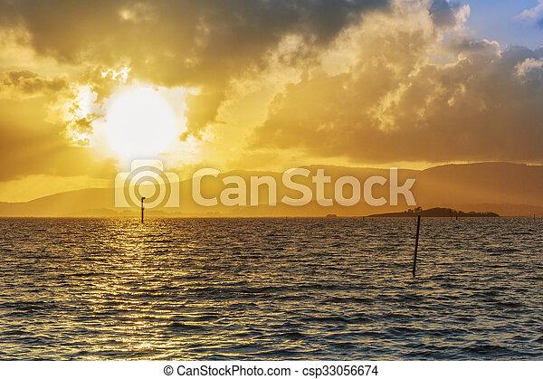 Golden sunset on the sea - csp33056674