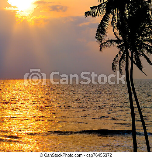Golden sunset over the ocean. - csp76455372