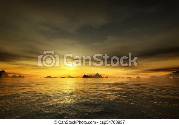golden sunset over the ocean - csp54783937