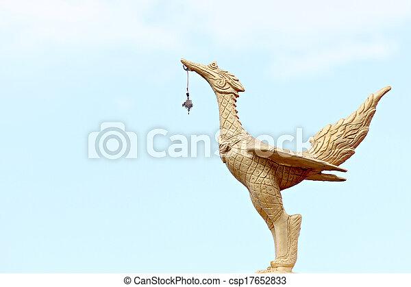 Golden swan statue. - csp17652833