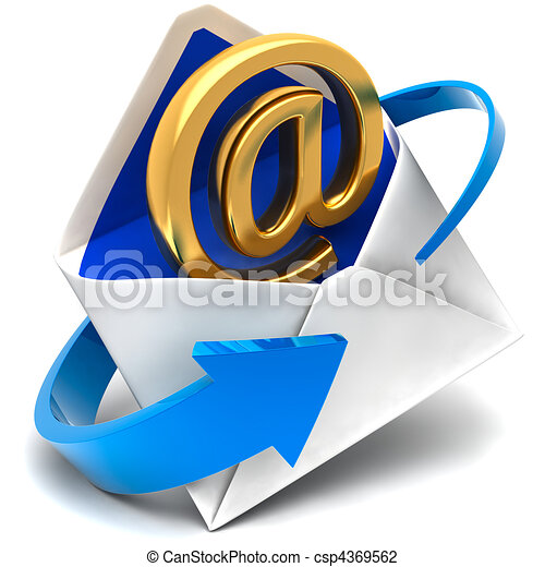 Golden symbol of e-mail comes out of the mail envelope - csp4369562