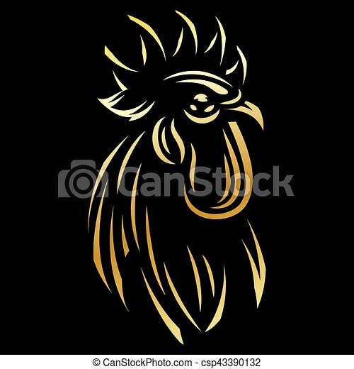 golden template for the logo with Rooster - csp43390132