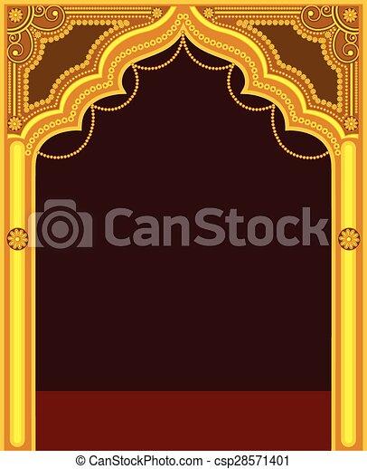 Golden Temple Door Frame Vector Illustration