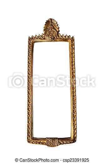 Golden Thai square style frame isolated on white background - csp23391925