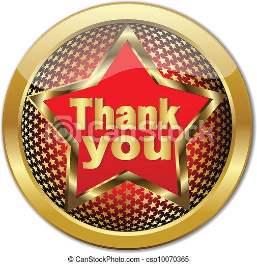 Golden Thank You button - csp10070365