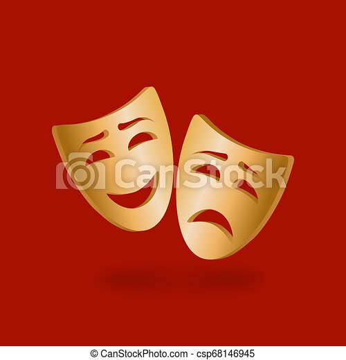 Golden theatrical masks of comedy and tragedy on red background - csp68146945