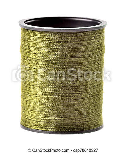Golden thread spool isolated on white background - csp78848327
