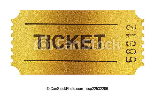 Golden ticket isolated on white - csp22532286