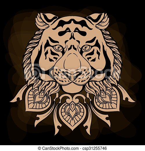 Golden tiger head with ornament mandala. Vintage hand drawn illustration in linear style on black background. - csp31255746