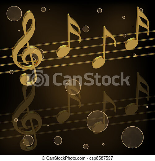 Golden treble clef and notes  - csp8587537