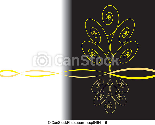 Simple Floral Line Art : Golden tree simple floral design with abstract clip