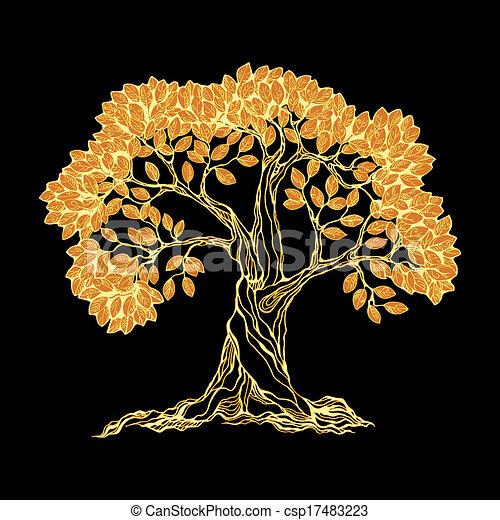 Golden tree on black - csp17483223