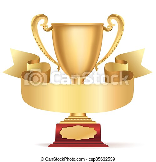 golden trophy cup and ribbon with space for text on white vector