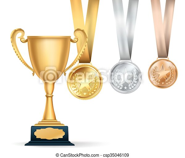 Golden trophy cup and set of medals with ribbons on white background   Sports competition awards composition  Vector design template