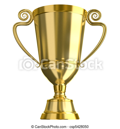 Golden trophy cup, isolated - csp5428050