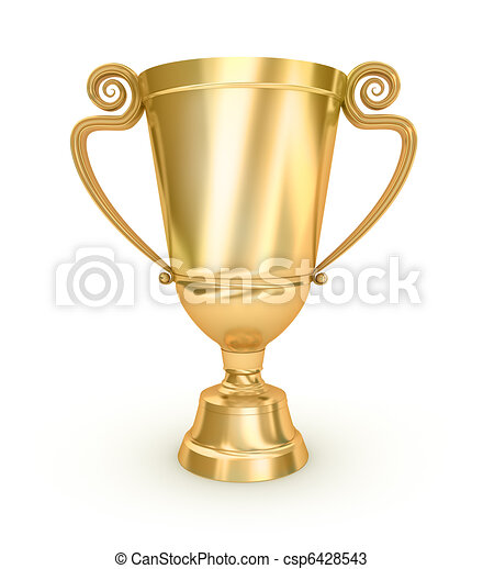 Golden Trophy Cup on white surface - csp6428543