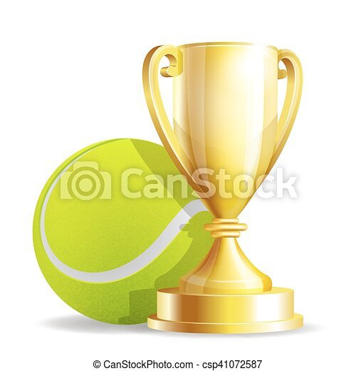 Golden trophy cup with a Tennis ball - csp41072587